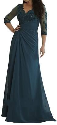 Charm Bridal Long Sleeve Plus Size Chiffon V Neck Mother of Bride Women Dresses