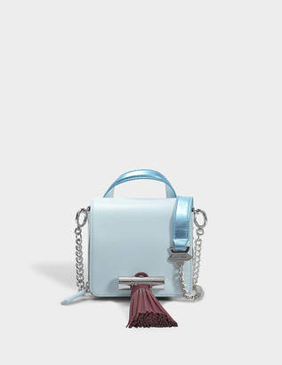 Kenzo Sailor Chain Mini Top Handle Bag in Sky Blue Suede