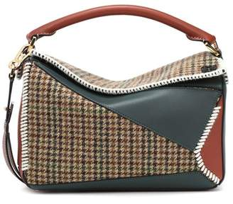Puzzle tweed shoulder bag