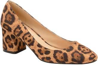 Next Womens Ravel Leopard Print Leather Block Heel Court Shoe