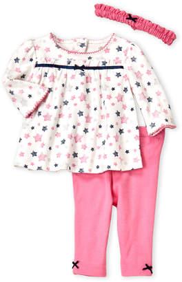 Little Me Newborn/Infant Girls) 3-Piece Shiny Star Top & Pants Set