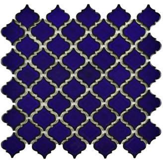 EliteTile Pharsalia 12.38 x 12.5 Porcelain Mosaic Floor and Wall Tile in Blue Eye