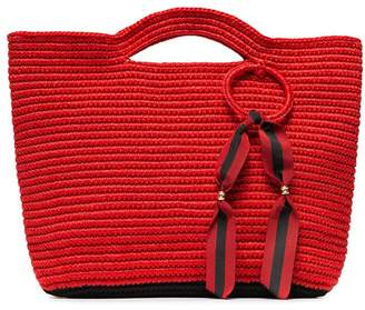 Sensi Studio red ribbon tassel straw basket bag