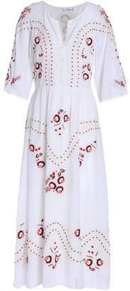Vilshenko Lace-Trimmed Embroidered Cotton Midi Dress