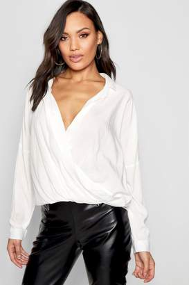 boohoo Wrap Front Revere Collar Shirt