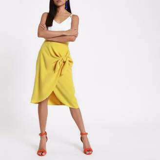 River Island Womens Petite yellow tie front pencil skirt
