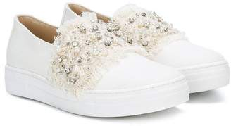 Ermanno Scervino frayed panel sneakers