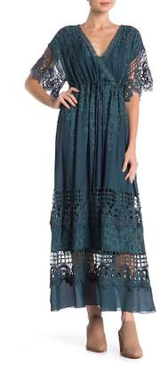 Johnny Was Rising Sun Crochet Lace Silk Maxi Dress