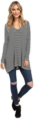 Culture Phit Ellena Striped V-Neck Long Sleeve Top Women's Clothing