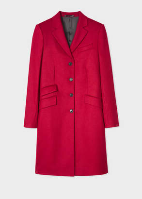 Paul Smith Women's Dark Red Wool-Cashmere Epsom Coat