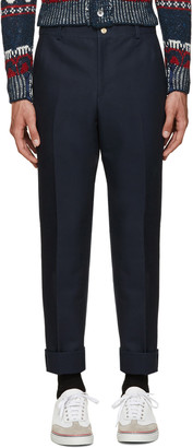 Thom Browne Navy Unconstructed Chino Trousers $790 thestylecure.com