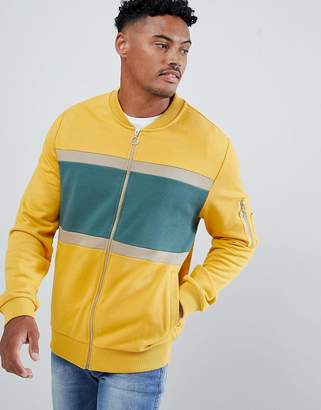 Asos Design DESIGN bomber jersey jacket with colour blocking and MA1 pocket
