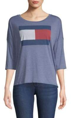 Tommy Hilfiger Logo Quarter-Sleeve Top