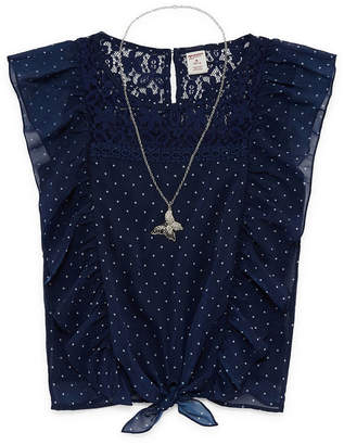 Arizona Ruffles and Lace Flutter Sleeve Polka Dot Blouse w/ Necklace - Girls' 4-16 & Plus