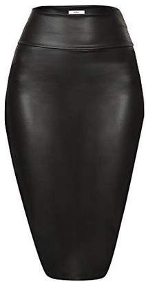 b487337a1e8 Simlu Faux Leather Pencil Skirt Below Knee Length Skirt Midi Bodycon Skirt  Womens
