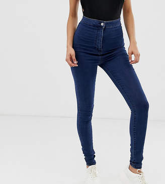 Collusion COLLUSION Tall skinny high waist denim jegging in dark wash blue
