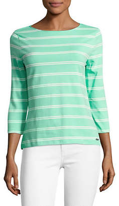 Isaac Mizrahi IMNYC Three-Quarter Sleeve Boat Neck Tee
