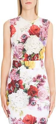 Dolce & Gabbana Rose Print Stretch Silk Charmeuse Top