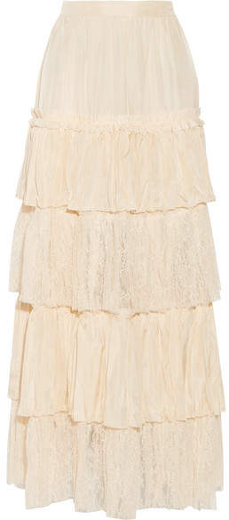Gucci - Tiered Silk-satin And Lace Maxi Skirt - Cream