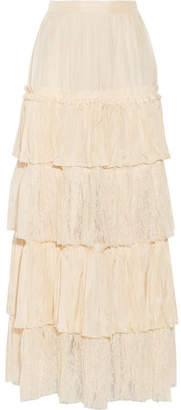 Gucci Tiered Silk-satin And Lace Maxi Skirt - Cream