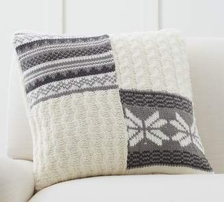 Pottery Barn Sweater Patchwork Pillow Cover