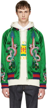 Gucci Green Embroidered Silk Bomber Jacket $4,590 thestylecure.com