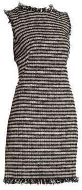 Alexander McQueen Women's Tweed Pencil Mini Dress - Black Ivory Nacre - Size 48 (12)