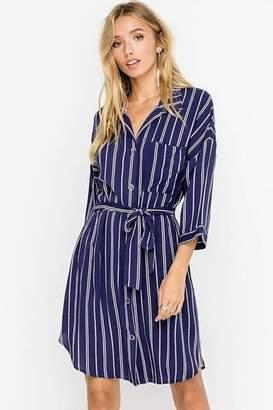 Lush Belted Shirt Dress