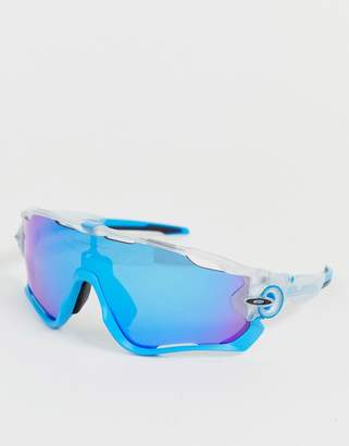 Oakley Jawbreaker Crystal Pop sunglasses with prizm sapphire lens