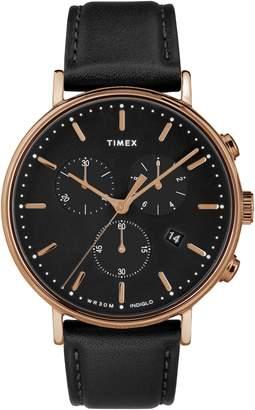 Timex R) Fairfiled Leather Strap Watch, 41mm