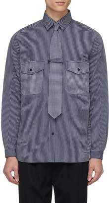 GOETZE 'Richard' gingham check pocket stripe shirt with tie