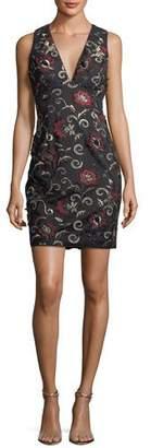 Aidan Mattox 3D Embroidered Sleeveless Mini Cocktail Dress