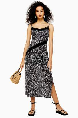 Topshop Floral Lace Mesh Midi Dress