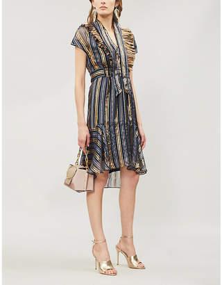 Peter Pilotto Metallic-striped silk-blend mini dress