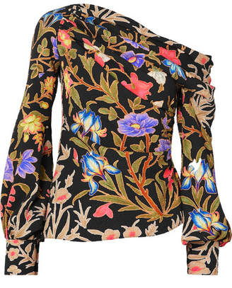 Peter Pilotto Asymmetric Floral-print Stretch-silk Cloqué Blouse - Black