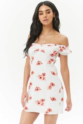 Forever 21 Floral Off-the-Shoulder Mini Shift Dress