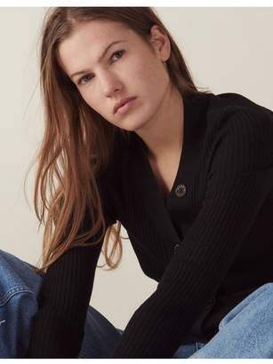 Sandro Ribbed Knit Buttoned Cardigan
