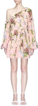 Nicholas 'Evie' floral print tiered ruffle one-shoulder mini dress