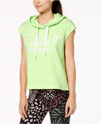 Calvin Klein Logo Sleeveless Cropped Hoodie