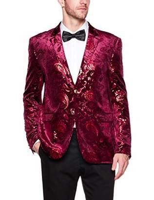 AUSTIN MILL Men's Slim-Fit Paisley Floral Party Suit Sport Jacket