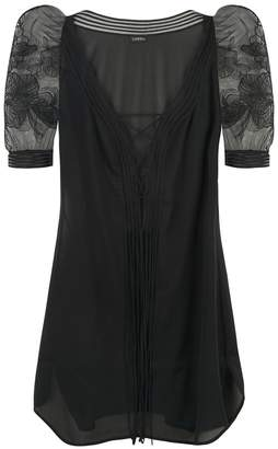 La Perla Garnet Black Short Silk Georgette Nightdress With Puff Sleeves And Soutache Embroidery