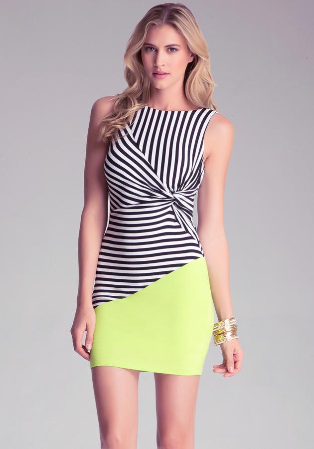 Bebe Stripe Block Knotted Dress