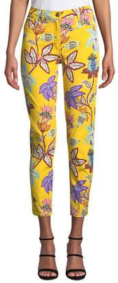 Etro Floral-Print Straight-Leg Crop Jeans