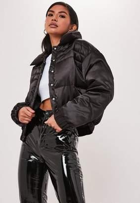 Missguided Black Satin Padded Jacket