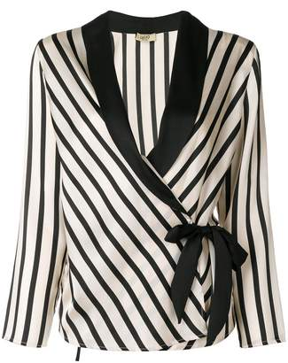 Liu Jo striped waist-tied jacket