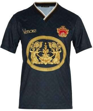 Versace Archive Print Football V Neck T Shirt - Mens - Navy