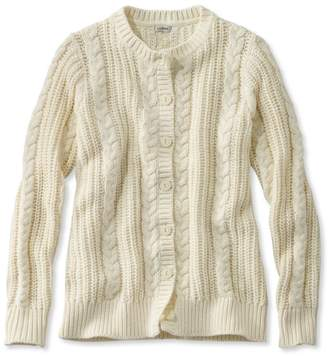 L.L. Bean L.L.Bean Rope-Stitch Shaker Sweater, Button-Front Cardigan