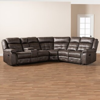 Red Barrel Studio Latona Modern And Contemporary Grey Leather-Like Fabric Upholstered 6-Piece Sectional Recliner Sofa With 2 Reclining Seats Red Barrel Studio