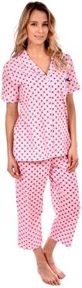 Patricia from Paris Women's Pajama Capri Set Short Sleeve Knit Loungewear (Pink Geo Print, S)