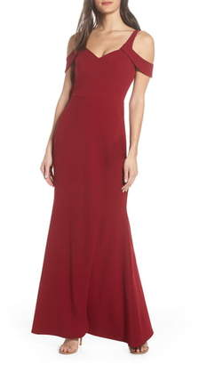 Sequin Hearts Scuba Crepe Cold Shoulder Evening Dress
